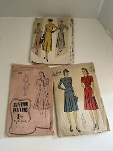 Lot of 3 1940s 50s Vintage Sewing Patterns Superior  McCalls DuBarry