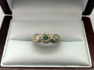 Antique Filigree Ladies 14KT White Gold Alexandrite And Diamond Ring Size 6.5