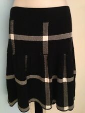 Women's NWT ELLE Black and White Striped Ribbed Flare Out Skirt in Size L