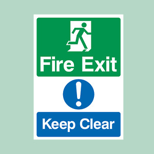 Fire Exit Keep Clear Plastic Sign/Sticker - Fire Exit, Escape (MISC13)
