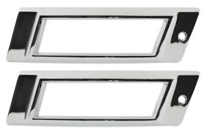 1968 Impala Caprice Rear Side Marker Light Lamp Chrome Trim Metal Bezels - Pair