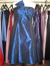 DEBUT/DEBENHAMS NAVY BLUE BOW TAFFETA COCKTAIL/PROM/BRIDESMAID DRESS 10/12 P