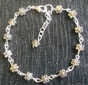 Antique Silver tone daisy chain flower bracelet 7-8in handmade