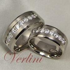 8mm Titanium Rings Diamond Simulated Wedding Bands Matching Set Bridal Jewelry