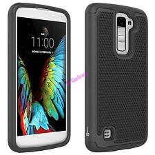 For LG K10 / Premier LTE Black Case Hybrid Protective Dual Layer Phone Cover