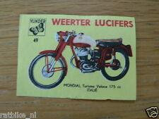 M49 WEERTER LUCIFERS,MATCHBOX LABELS MONDIAL TURISMO VELOCE 175 CC  MOTORCYCLE