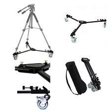 Universal Heavy Duty Camera Video Folding Adjustable 3 Wheel Slider Tripod Dolly