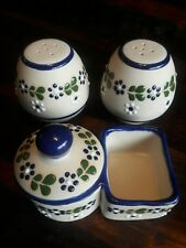 Ceramic Blue Floral Design Salt And Pepper Shakers Plus Sugar Bowl W/Packet Side