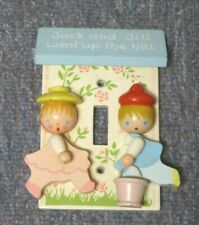 Vtg children's light switch plate-Jack & Jill nursery handpainted IRMI Nursery