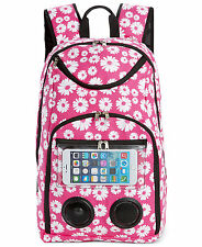 "18"" x 12"" x 6"" Bluetooth® Wireless Speaker Backpack Pink Floral Print NEW"