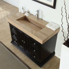 48-inch Modern Bathroom Single Vanity Cabinet Travertine Top Ramp Sink 0284T