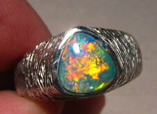 Mens  Extreme Gem Opal Ring  , Textured Band , solid 14 k white gold