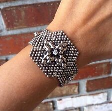 NEW AUTHENTIC Liquid Metal Sergio Gutierrez Cross-Dot Crystal Bracelet RTB21