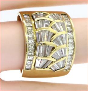 "GIA $7K Diamond 4.32ct VS-G Mosaic Cocktail Ring .65"" XL Wide Band 13g 18K Gold"