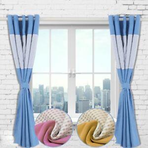 Modern Gingham Kids Bedroom Curtains Thermal Blackout Striped Curtain Eyelet UK