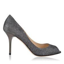 Jimmy Choo 'Evelyn' Glitter Anthracite Silver Peep Toe Stiletto Heels Eu 40 Uk 7