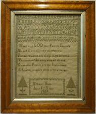 Mid 19Th Century Green Stitch Work Verse Sampler By Effield Smith - 1864