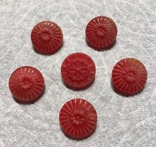 """6 Vintage Glass Buttons 3/4"""" Sewing  Button Lot DD-3"""
