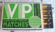 VP GLOBE VEST POCKET MATCHES - SAFETY MATCHES, MADE IN SWEDEN