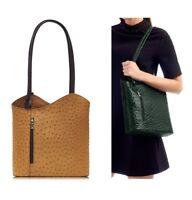 Ladies Italian Leather Handbag Tan / Brown Ostrich Effect Shoulder Bag Backpack