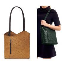 Neues AngebotHandtasche Damen italienisches Leder Schultertasche hellbraun/braun Rucksack Strauß Optik