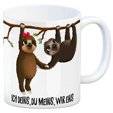 Ich deins  du meins  wir eins - Kaffeebecher Faultier Pärchen Kaffeetasse
