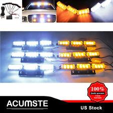 54 LED Amber/White Car Emergency Warning Strobe Hazard Light For Deck Dash Grill