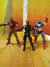 "Marvel universe Hasbro 3.75"" Nick Fury Iron Man & Captain America figure lot"