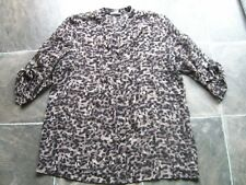 Women's Rockmans Black & Brown Sheer Polyester 3/4 Sleeve Blouse Size 18 VGUC