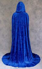 Blue Crushed Velvet Unlined Cloak Cape Renaissance Wicca Medieval LARP SCA