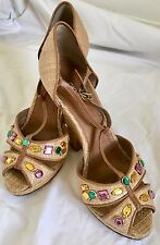 DKNY Italy T-Strap Wedge Sandals Tan Camel yellow green pink stones Size 6