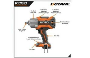 RIDGID 18V Cordless Brushless 1/2 in. High Torque 6Mode Impact Wrench (Tool Only