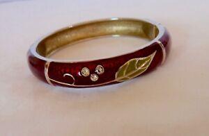 Bangle bracelet,hinged magnetic clasp,jewelled burgundy enamel, gold tone metal