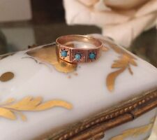 Vintage Antique Victorian 10K Rose Gold Turquoise Seed Bead Ring ~Sz 1.5
