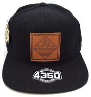 California Republic Snapback Cap Hat Cali Bear Flag Black NWT