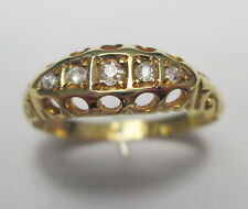 Antique Victorian 18ct Gold Five Stone Old Cut Diamond 0.2 Carats Ring 1898