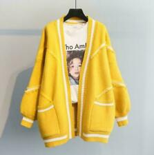 Korean Womens Thicken Knitted Cardigan Loose Puff Sleeve outwear Coat Free Size