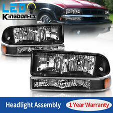 For Chevy S10 Blazer 1998-2004 Black Headlights + Bumper Turn Signal Light Lamps