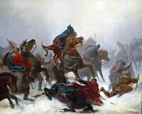Norwegian King Sverre In Battle Birkebein Painting Real Canvas Art Print