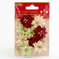 Poinsettias Mixed Pack Small Xmas Christmas Embellishments 9 Pack XM017