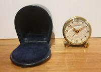 Vintage Swiss Brass Looping 7 Jewel Level 8 Day Anti-Magnetic Travel Alarm Clock