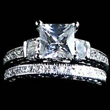 PRINCESS CUT CLEAR CZ WEDDING SET__ SZ-4__925 STERLING SILVER_NF