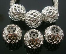 50pcs Silver Plate Carved Stardust Aluminum Bead Fit European Bracelet BE11-5