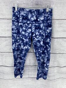 Athleta Capri Leggings great condition Size PSmall Tie Dye Blue and White