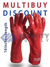 """3 Pairs Red PVC Long Gauntlet Work Gloves 16"""" Drain Cleaning Safety Agriculture"""