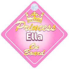 Crown Princess Ella On Board Personalised Baby Girl Car Sign