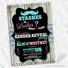 Staches or Lashes Gender Reveal Invitations / Baby Shower Printed