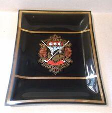 Vintage black glass Western Seniors Golf Association plate/shallow dish gold