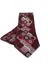 Stacy Adams Men's Tie Hanky Set Red Silver White & Black 100% Silk Hand Made
