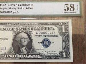 1957A $1 DOLLAR 2 DIGITS LOW SERIAL NUMBER (18) PMG 58